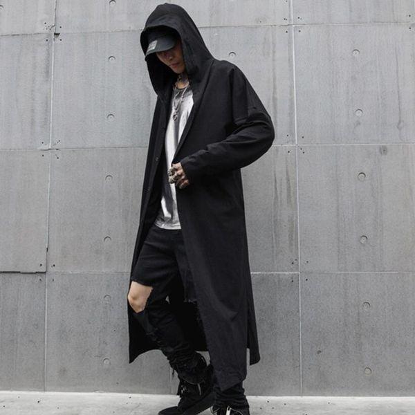 Primavera estate uomo nero sottile punk rock hip hop con cappuccio trench giacca lunga mens stile gotico mantello vintage hiphop cardiagn