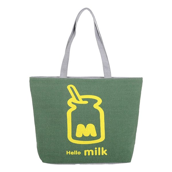 2019 Lovely Hello Milk Canvas Handbag Preppy School Bag For Girls Women's Handbags Cute Bags Agd Fa$b Women Bag