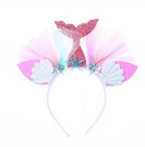 Diadema de sirena arcoiris caliente Princesa Hilo de malla Shell Flor Animal Bandas para el cabello Aro Niños Fiesta Accesorios para el cabello GB1060