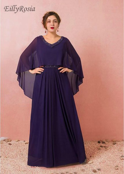 Purple Plus Size Evening Dresses for Mother of the Bride Party Chiffon A Line Beading Formal Evening Gowns with Cape