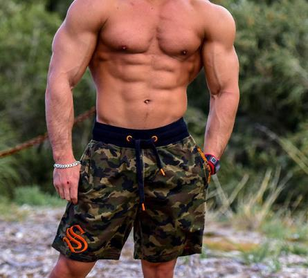 2019 gym Men's Outdoor Fitness and Leisure Running Loose Shorts Camouflage Cotton Beach Shorts Sports Shorts