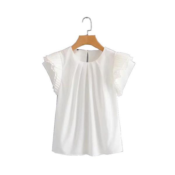 cs4280 women o neck simple pleated ruffles sleeve shirts white color bouse