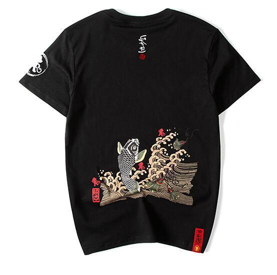 Футболка Street мужского золотая рыбка печать короткий рукав футболка мужской чистый хлопок 5XL японская мода бренд мужского