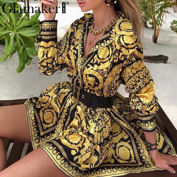 Glamaker Sexy Paisley Vintage Print Gold Dress Women Holiday Beach Short Dress Summer Elegant Party Club Dress Large Size Robe MX190723