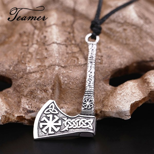 Teamer Nordic Vikings Necklace Rune Axe Amulet Compass Scandinavian Necklace Sun Wheel Vintage Celtics Knots Wax Cord Jewelry