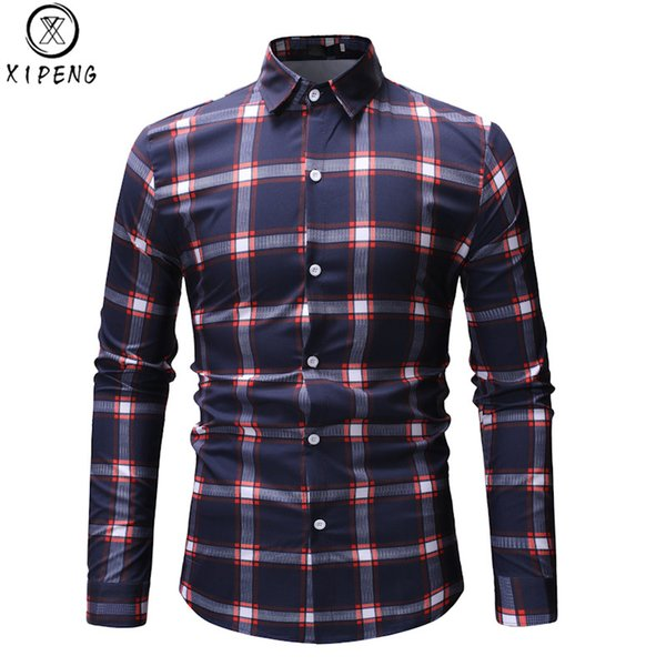 Fashion Plaid Shirt Men 2019 Spring New Red Checkered Shirt Men Slim Fit Long Sleeve Dress Mens Casual Chemise Homme XXXL