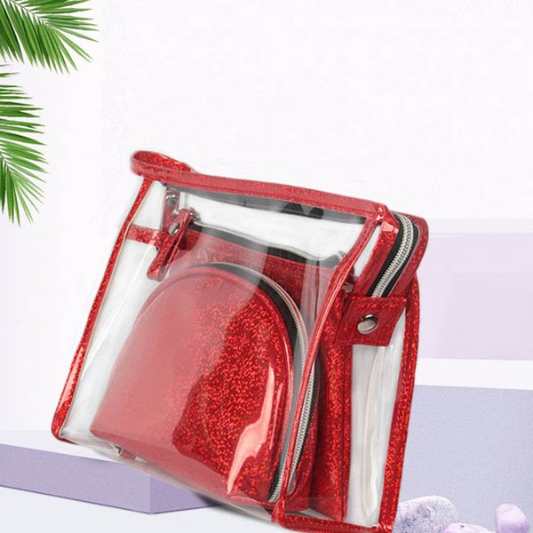 Women Cosmetic Cases Fashion 3pc/set Make Up Bags PVC Transparent Laser Combination Bags Female Bolsa Coin Purse Girl Travel Bag