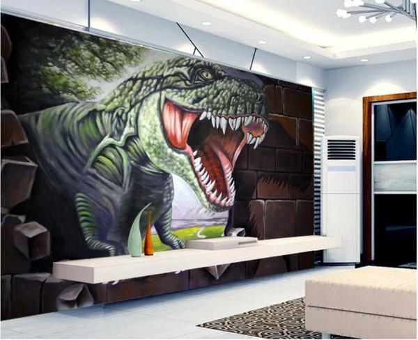 WDBH papel tapiz 3d foto personalizada Ladrillo de la pared palacio fondo dinosaurio jurásico sala de estar Decoración para el hogar murales de pared 3d papel tapiz para paredes 3 d