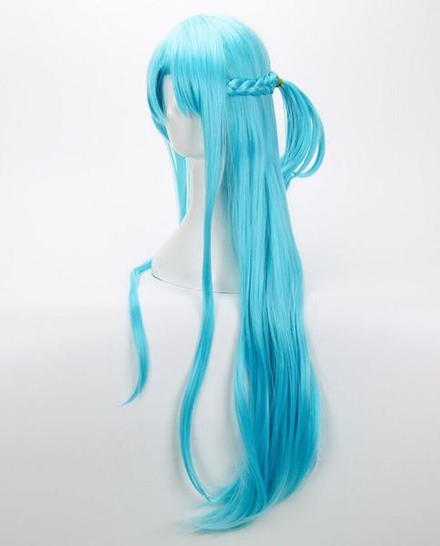 Sword Art Online Yuuki Asuna Wig Yuki Asuna Wig Braided Blue Cosplay Wig + Cap