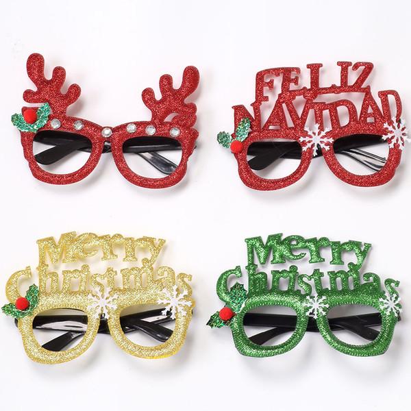 Karikatür Merry Christmas Gözlük Süsleri Simli Gözlükler Çerçeve Çocuk Yetişkin Aile Noel Partisi Dekor No Mercek