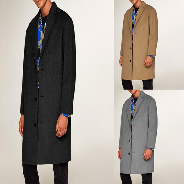 Casaco de Lã dos homens da moda Casaco de Inverno Trench Coat Outwear Casaco de Manga Longa Jaqueta blusão T-shirt Inglês dos homens longo casaco de lã
