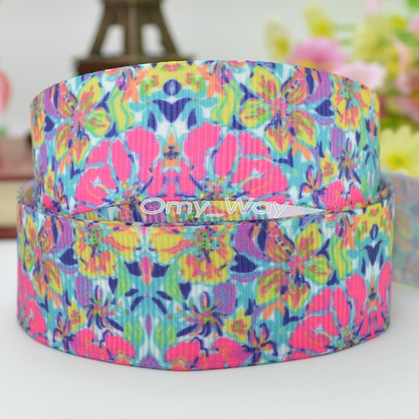 "Lilly Ribbons 7/8"" 22mm Flowers Printed Grosgrain Ribbon Hair Bow DIY Handmade Crafts Gift Ribbon Print 50Yards C-2208"