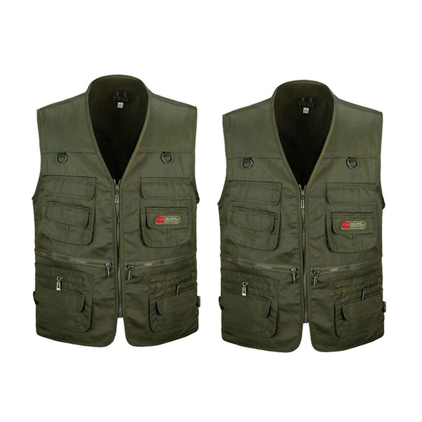 -2 pcs army green men's fishing vest with multi-pocket zip for pgraphy / hunting / travel outdoor sport - xxl & xxxl thumbnail