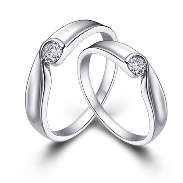 Austrian Crystal Rings for Women 925 Sterling Silver Couple Joyas Engagement Ring Men Jewellery Mix J011