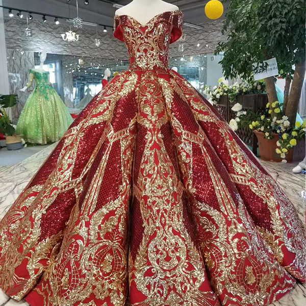 2019 luxury floor length queen prom dresses red curve shape ball gown golden lace evening party dresses glitter free shipping