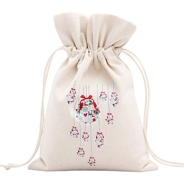 Unique Design Large Christmas Gift Bag Home Party Decoration Vintage Drawstring Canvas Dinner Table Gift Bag Supplies 14#