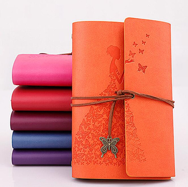 top popular new design vintage kraft paper pirate notebooks spirial Dress beauty pu notepads butterfly pendant bound diary business Travel Journal 2021