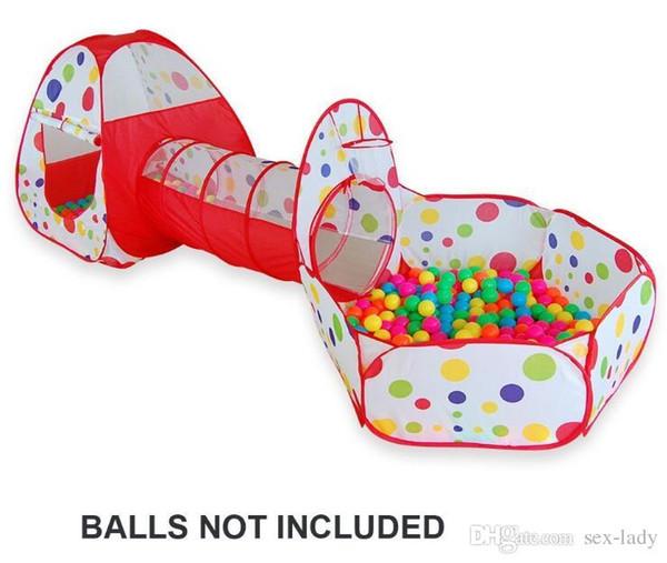 Tenda da gioco pieghevole per bambini a pois 3 in 1 con pozzo a tunnel e cerniera Capanna per giochi all'aperto per bambini