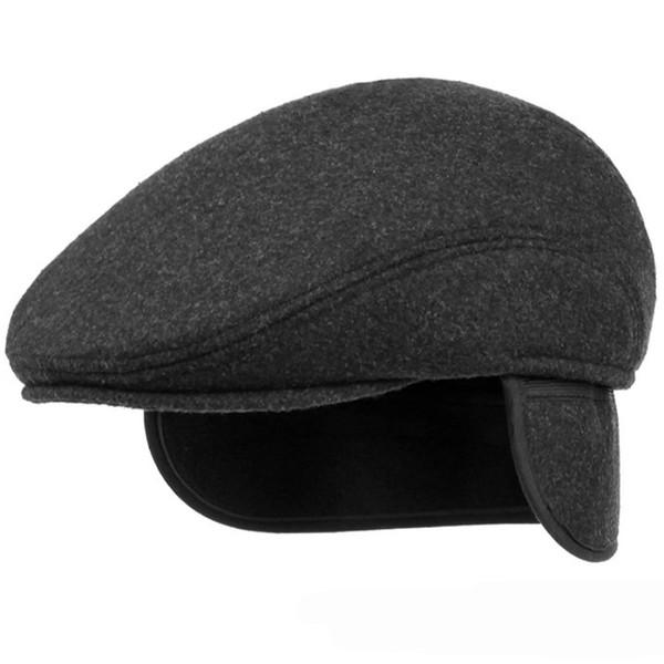 HT1405 Warm Winter Hats with Ear Flap Men Retro Beret Caps Solid Black Wool Felt Hats for Men Thick Forward Flat Ivy Cap Dad