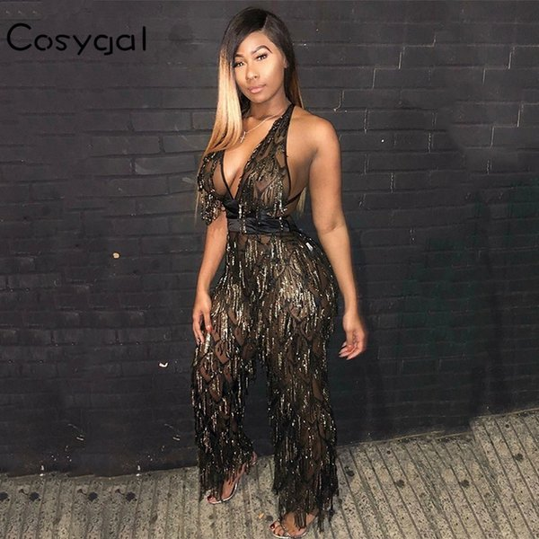 COSYGAL Black Rompers Womens Jumpsuit Sexy Deep V Neck Summer Tassel Long Overalls Bandage Backless Jumpsuits For Women 2019