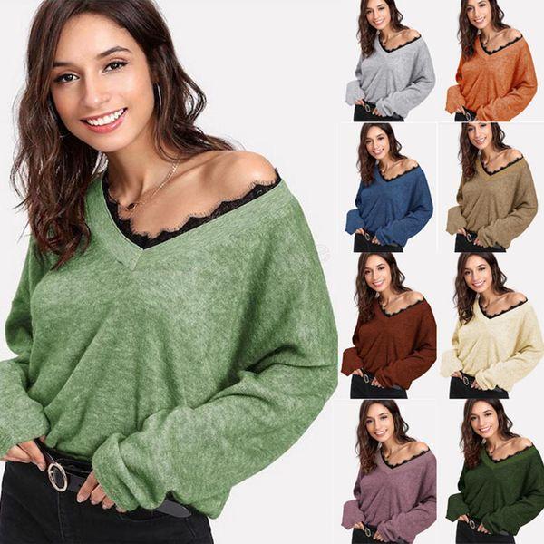 Suéter de punto con cuello en V de otoño para mujer Jersey de manga larga irregular de estilo coreano Suéteres de encaje Invierno Casual Tops sueltos LJJA2976