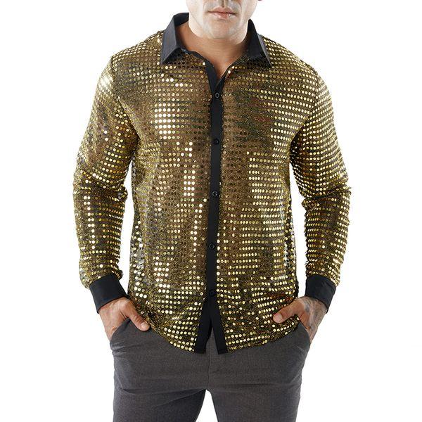 Yeni Şık Dans Gösterisi Gömlek Erkekler 2019 Yeni Yaz Gece Kulübü Kostümleri Katı Erkekler Gömlek Slim Fit Parlak Altın Gelinlik Gömlek