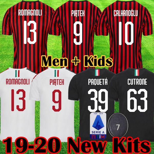 2019 2020 maglia da calcio milano 19 20 maglie da calcio PIATEK BAKAYOKO BORINI KESSIE kit CALDARA CUTRONE Camisa CALHANOGLU uniformi da maillot