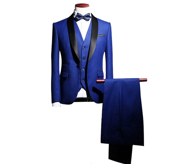 New Arrival Shawl Lapel Groom Tuxedos Wedding Best Man Blazer 3 Pieces (Jacket+Pants+Vest+Tie) Men Suits Prom Party Dress Suit Custom Made