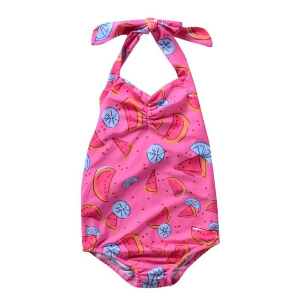 One Pieces Halter Girls Swimsuit Stretch Cartoon Kids Swimwear Soft Cute Fruit Print Children Vacation Beachwear Baby Clothing
