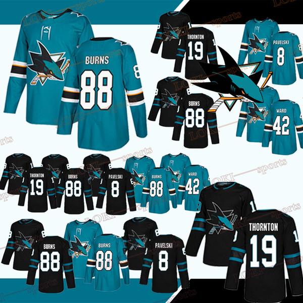 Camisetas de los San Jose Sharks # 8 Joe Pavelski # 88 Brent Burns # 19 Joe Thornton # 42 Joel Ward Hockey sportswear 2019