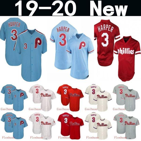 Erkek Kadın Gençlik 3 Bryce Harper Forması Philliesss Flex Baz Erkek Örgü Retro Beyaz kırmızı mavi gri Serin Baz Oyuncu Beyzbol Formalar Ço ...