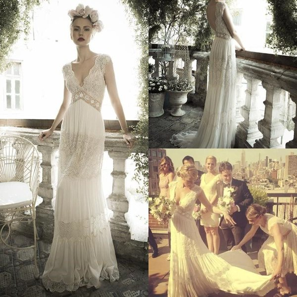 Sexy Bohemian Lace Wedding Dresses Sheer Deep V Neck Backless New 2019 Bridal Gowns For Pregnant Women Beach Boho Long Country Bride Dress