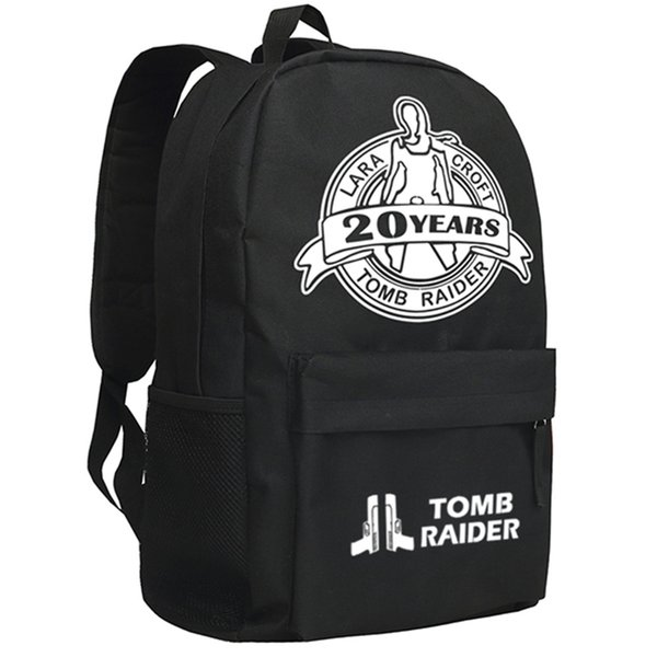 Tomb Raider Backpack Famous Movie Theme Daypack Black Oxford Shoulder Bag