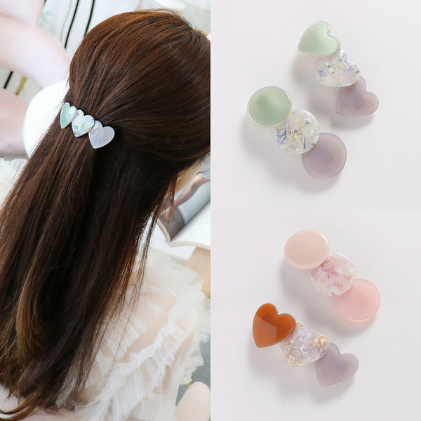 2018 Japan and Korea New Spring Style Lady's Simple and Sweet Acetate Hair Clip Heart Round Shape Girl's Hair Accessories