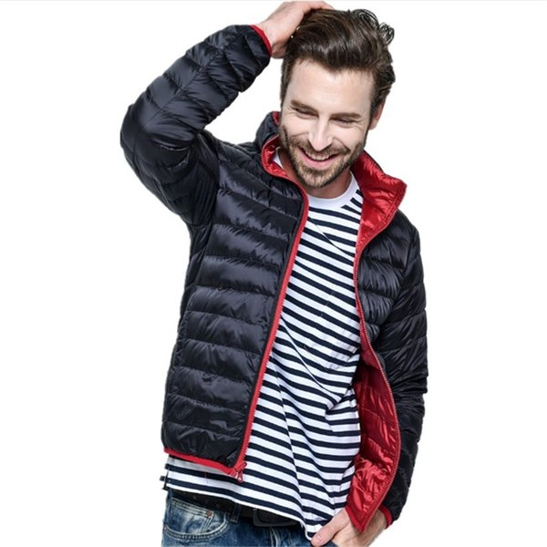 Male Spring Autumn New Ultra Light Duck Down Jacket Men Feather Man Winter Double Side Reversible Parka Coats Plus Size Jacket