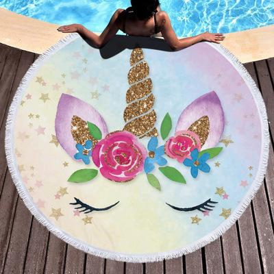 New Unicorn Femmes Round plage Throw serviette avec pompon châle couverture de plage Microfibre Unicorn épais doux Cercle Serviettes de bain