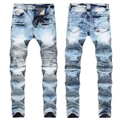 Slim Fit Ripped Jeans Men Mens Distressed Denim Joggers Knee Holes Washed Destroyed Jeans Plus SIZE 28-40