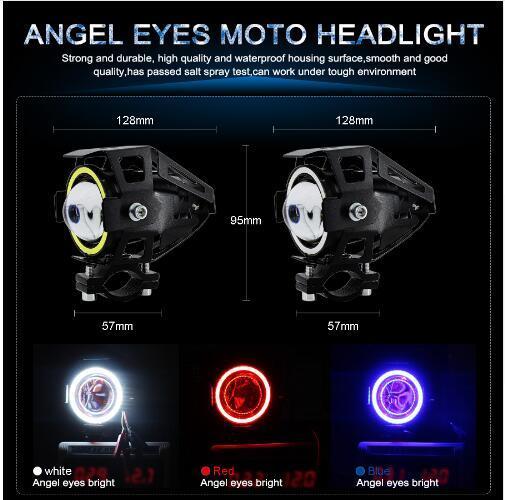 2PCS 125W Phares moto avec Halo Angel Eyes vedette Moto U5 U7 LED Moto voiture conduite Fog spot Head Light Lamp DRL
