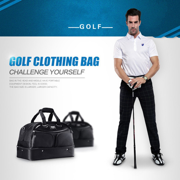 2016 Brand Golf Clothing Bag Men Black Shoes Package Bags Large Capacity Double-deck Clothes Bag