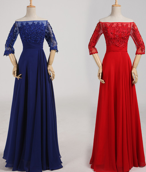 Robe Soiree Dubai 2019 Beaded Appliques Evening Dresses with Half Sleeves Long Prom Dress Red Royal Blue