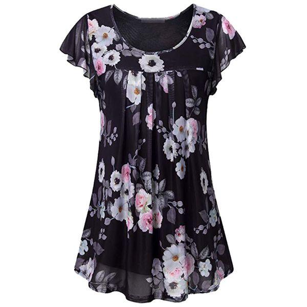 41e1de3933 Mulheres de Manga Curta Casual Túnicas Camisa Floral Plissado Frente Malha  Blusas Tops vogue blusa floral chiffon blusa estilo coreano