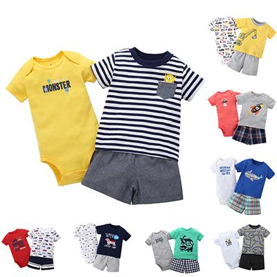 Soft Cotton Baby Boy Cotton Clothing Set 6m To 24m Bebe Short Sleeve T-shirt+ Bodysuit+ Shorts 3 Pieces Bodysuit Set J190520