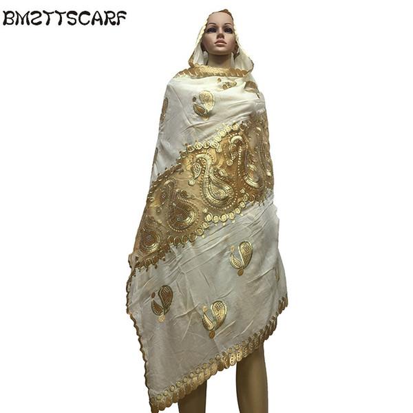 Nouvelle écharpe africaine d'été foulard musulman brodé de coton foulard avec écharpe en filet pour châles BM586