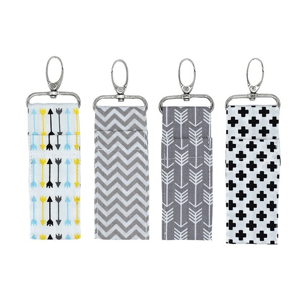Ladies arrow cotton lipstick bag key chain 4 types of creative corrugated colorful lipstick storage bag key ring