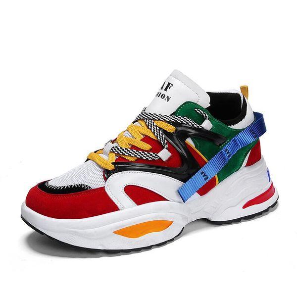 Élégantes Femmes Chaussures De Course Harajuku Sneakers Coussin Hauteur De Plateforme Augmentante Respirant Vague Hommes Sport Chaussures De Marche