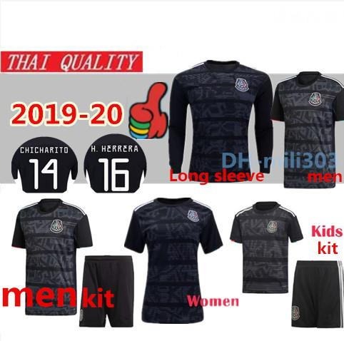 2019-20 Copa de oro camisetas de fútbol de México Manga larga 19/20 G. DOS SANTOS H. LOZANO VELA hombres mujeres blackout fútbol niños camiseta uniforme JIMENEZ