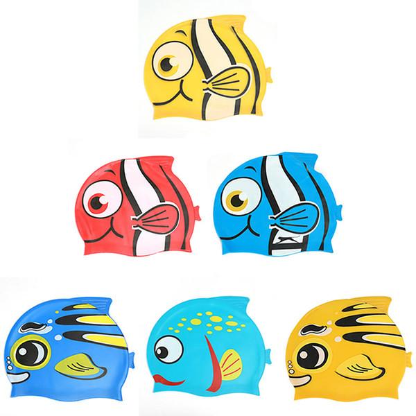 New Cute Cartoon Fish Kids Children Silicone Flexible Waterproof Long Hair Ear Protection Swim Pool Swimming Diving Head Cap Hat
