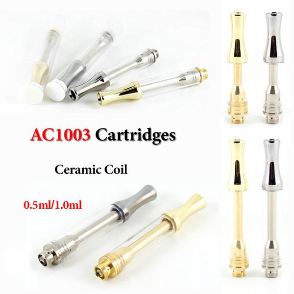 AC1003 Seramik Vape Kartuşları Gümüş Altın Metal Damla İpucu 0.5ml 1.0ml Pyrex Cam Tankı Kalın Yağ Vaporizer Seramik Bobin 510 Kartuş