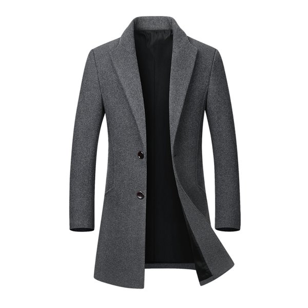 2018 Winter Casual Thick Woolen Coats Men's Stand Collar Slim Fit Jackets Manteau Homme Peacoat Overcoat Trench Wool Parka Coats