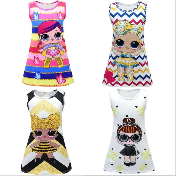 INS Girls Dress 8 estilos Cartoon Baby Princess Dress Mermaid Girls Vestidos 3-9Y Summer LOL Kids Party Dress Navidad regalo de los niños 12pcs